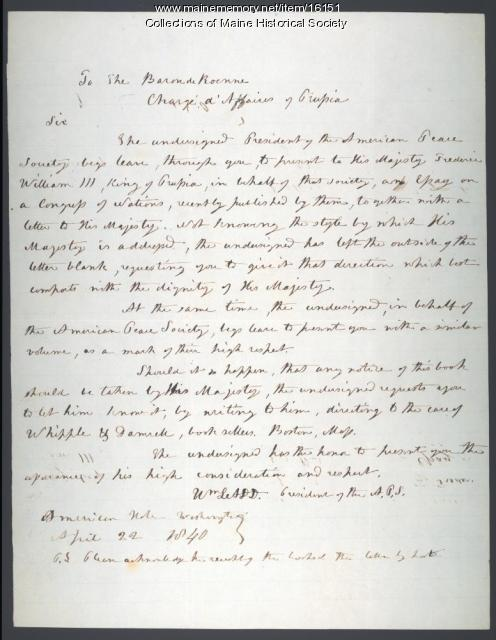 Letter from William Ladd to the Baron de Roenne, 1840