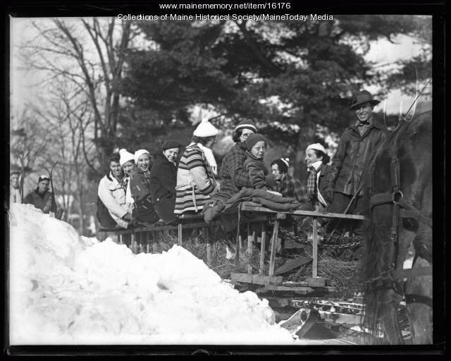 On the sledge, Fryeburg, 1936