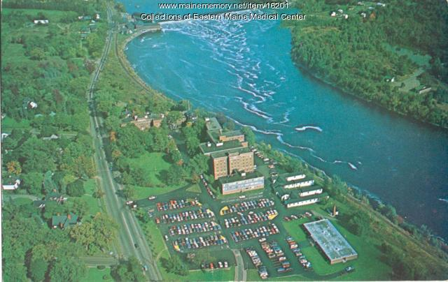 Aerial view, Eastern Maine General Hospital, Penobscot River, ca. 1951