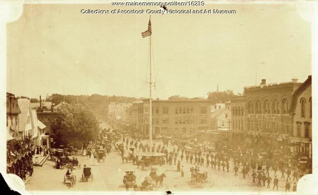 Parade leaving Market Square, Houlton, ca. 1895