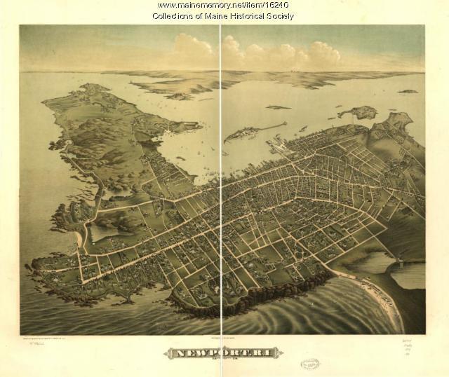Birdseye View Map of Newport, R.I. 1878