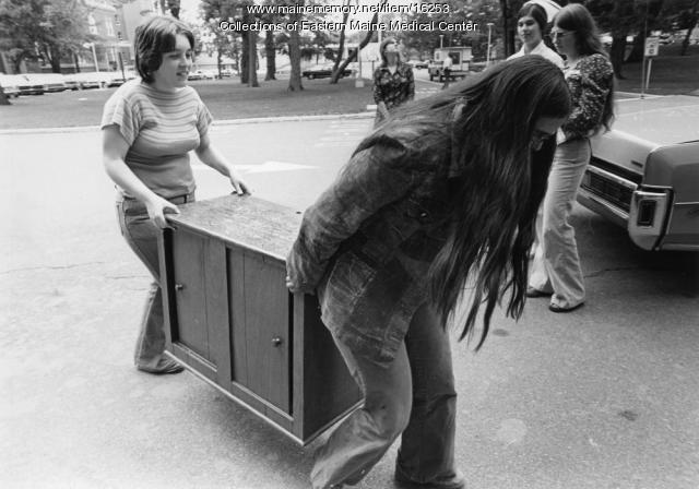 Moving in, Eastern Maine Medical Center, Bangor, 1976