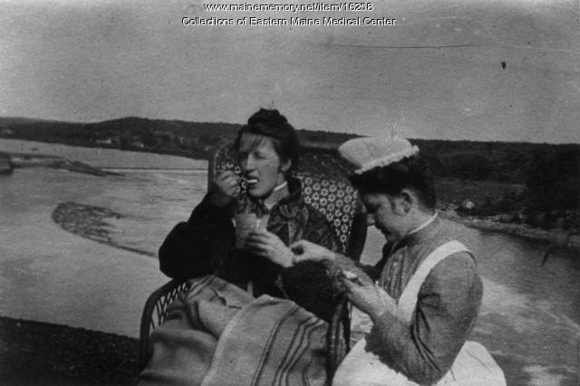 Nurse with patient, Eastern Maine General Hospital, ca. 1908