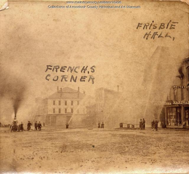 Fire drill on Market Square, Houlton, ca. 1875