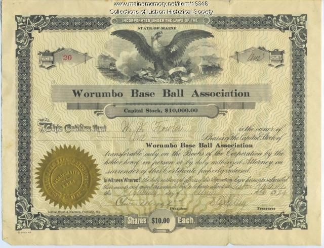 Worumbo Baseball Association Capital Stock Certificate, 1924