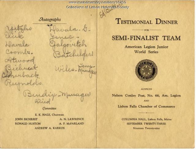 Baseball dinner menu, Lisbon, 1929