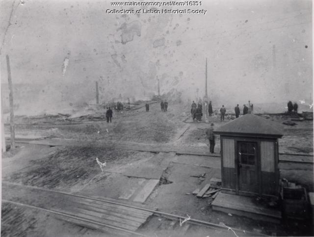 Main Street of Lisbon Falls Burning, 1901