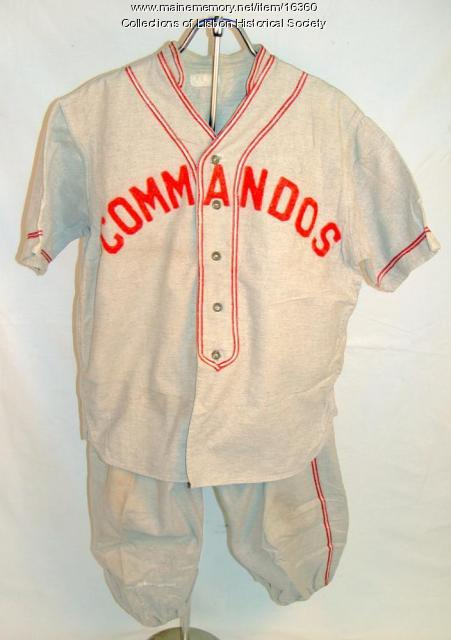 Commandos baseball uniform, Lisbon Falls, ca. 1941