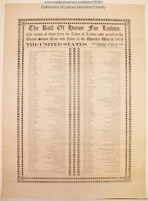 Roll of Honor for WWI Veterans of Lisbon, 1917