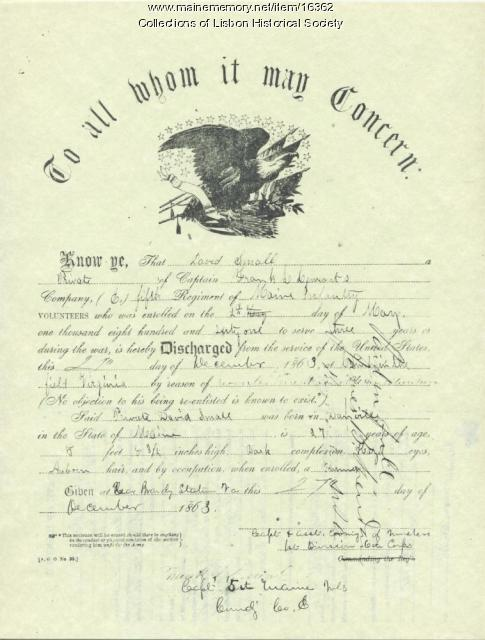 Discharge certificate of David Small, 1863