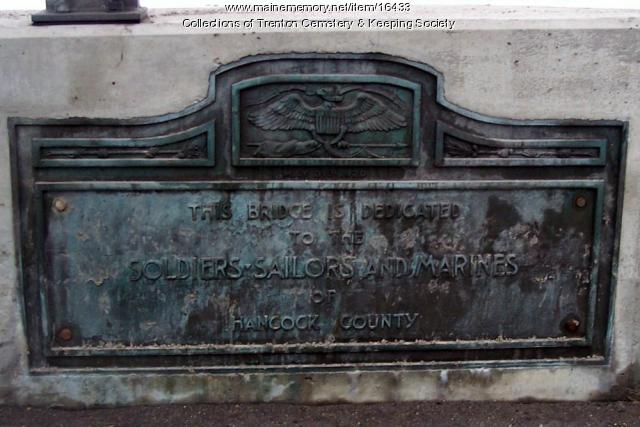 Plaque on the Trenton Bridge