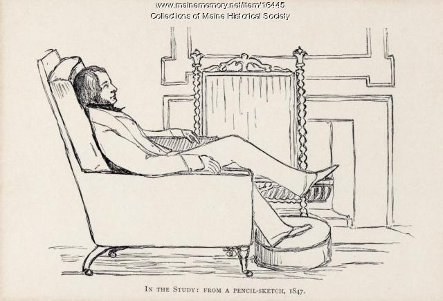 Sketch of Henry Wadsworth Longfellow in the Study