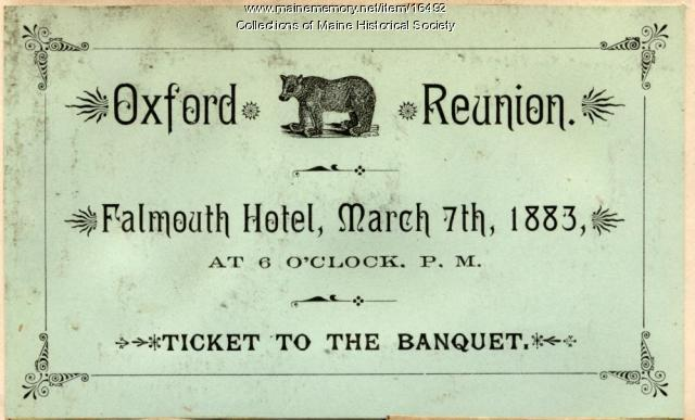 Oxford reunion ticket, 1883