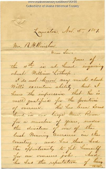 Letter of reference for mill supervisor, Lewiston, 1887