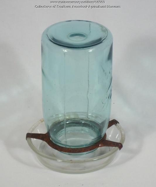 Ball Mason jar chicken waterer, c. 1940