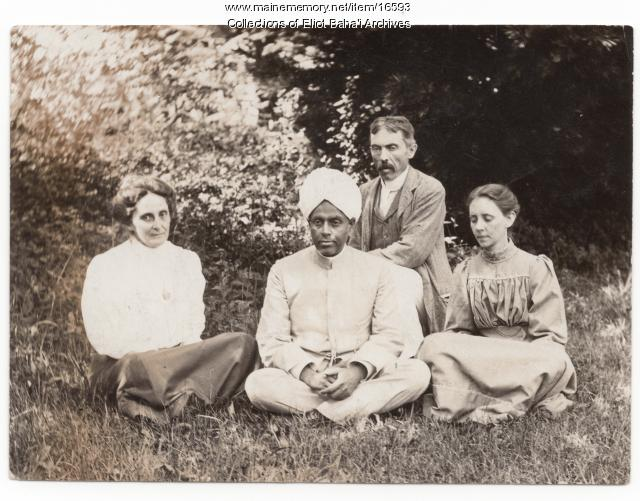 Swami Ramanathan, Myron Phelps and Countess Canavarro at Green Acre, Eliot, ca. 1900