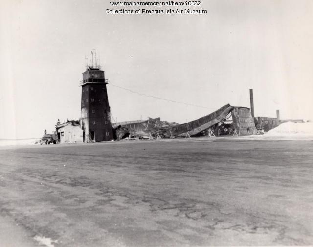 Fire at Hangar #4, Presque Isle Air Base, 1954