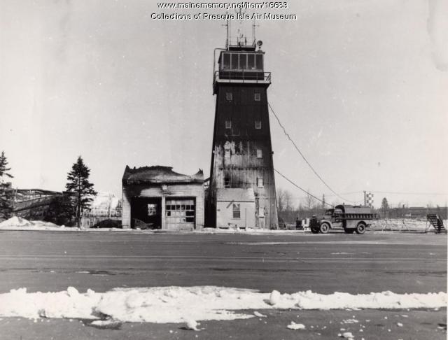 Fire damaged control tower, Presque Isle Air Base, 1954