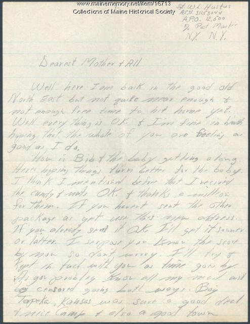 Soldier letter from basic training, 1942