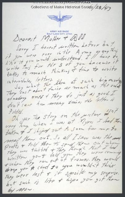 Walter Hustus letter from Salt Lake City, 1943