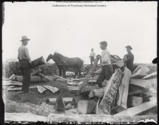 Wood cutting, Fryeburg, ca. 1900
