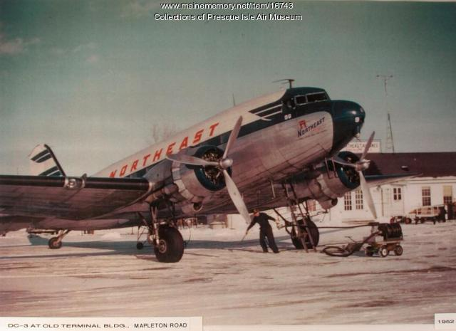 Northeast Airlines DC-3, Presque Isle, ca. 1945