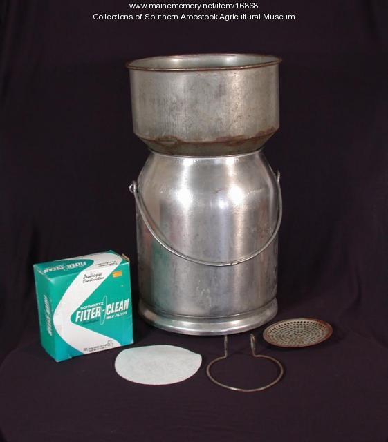 Milk straining equipment, ca. 1940s