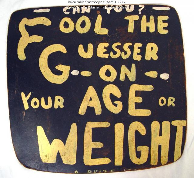 Dave the Guesser sign, Old Orchard Beach, ca. 1970