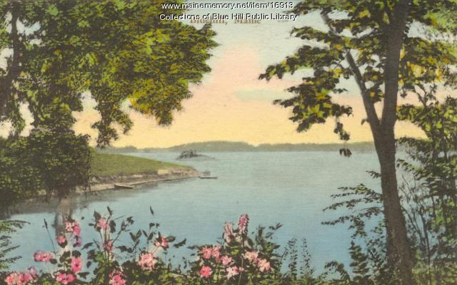 Hand-colored shot of Blue Hill Bay