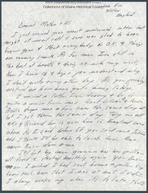 Walter Hustus letter to family, 1944