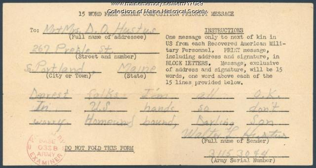 Message from Walter Hustus to family, 1945