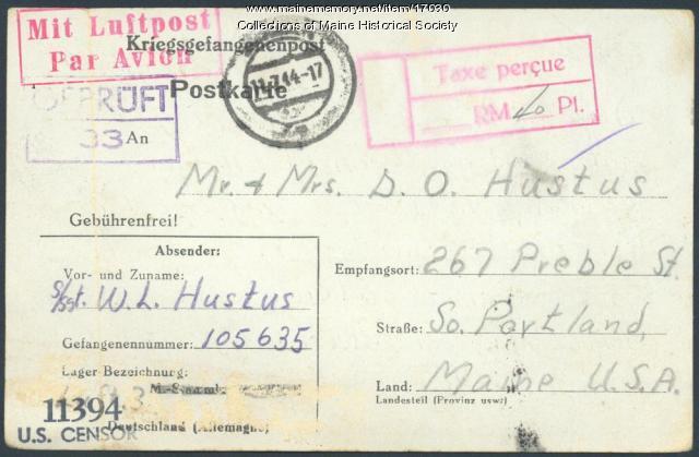 Postcard concerning capture by Germans, 1944