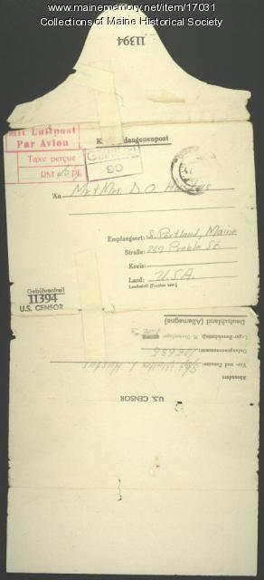 Letter from POW camp, 1944