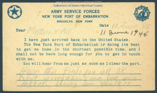 Postcard announcing arrival in U.S., 1945