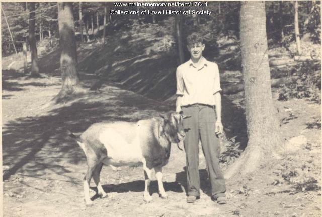 Walter Cook and goat, Lovell, ca. 1930