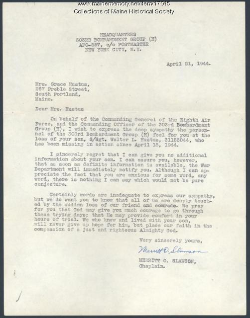 Army letter concerning missing soldier, 1944
