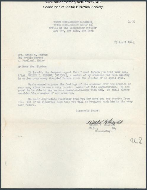 Missing in action letter, 1944