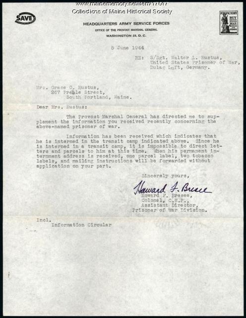 Letter concerning Walter Hustus prisoner status, 1944