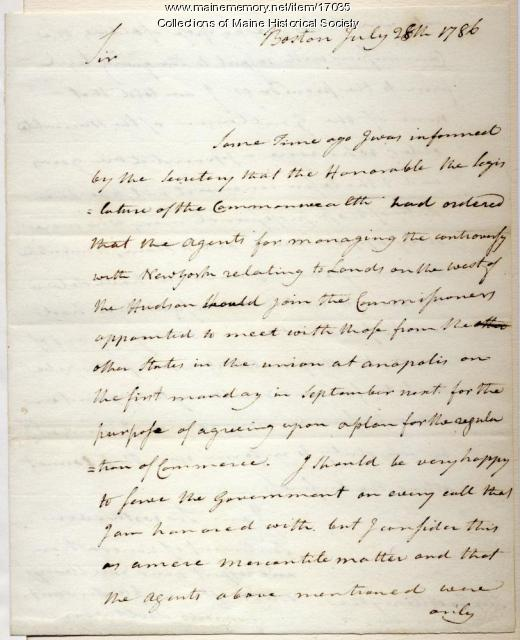 James Sullivan letter to Massachusetts governor, 1786
