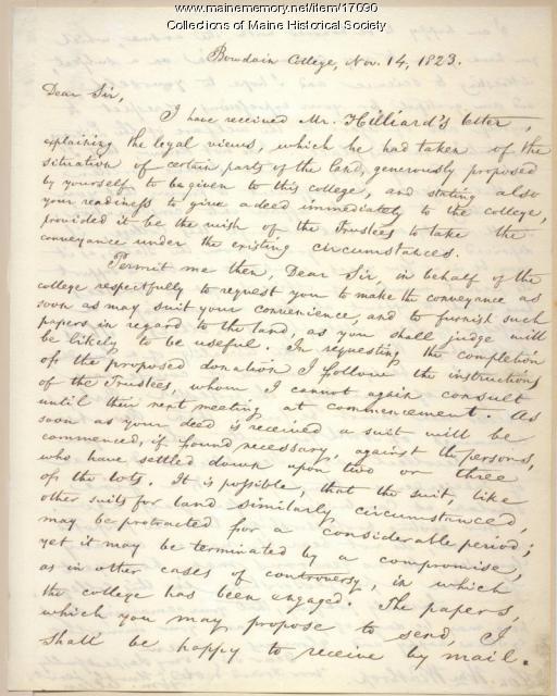 William Allen letter concerning land deed, 1823