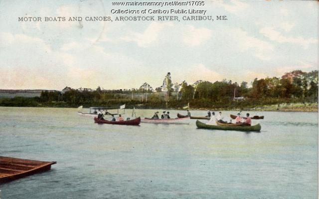 Boating on the Aroostook River, Caribou, c. 1908