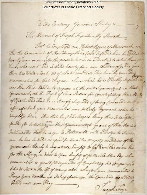 Joseph Frye letter to Gov. Shirley, ca. 1740s