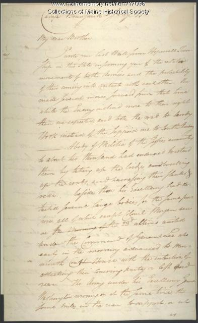 Henry Knox letter concerning Battle of Monmouth, 1778