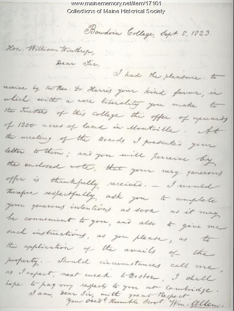 William Allen letter to William Winthrop, 1823