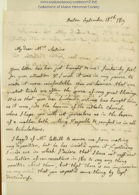 John Cheverus letter to Mrs. Robert Askins, 1817