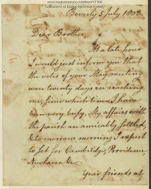 Joseph McKeen letter to Rufus Anderson, 1802