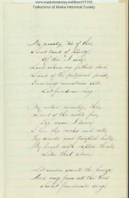 Samuel Francis Smith, national hymn, 1832