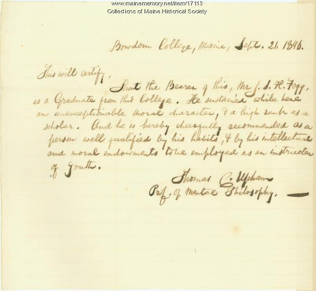 Thomas Upham affadavit, Brunswick, 1846