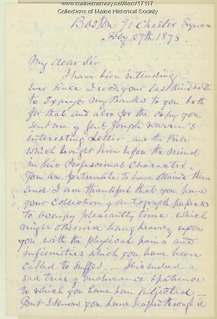Letter from Robert Waterston to John Fogg, 1875