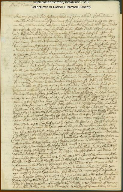 Letter from Jeremiah Wise to William Pepperrell, 1750